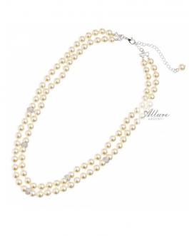 collana perle 2 fili con strass