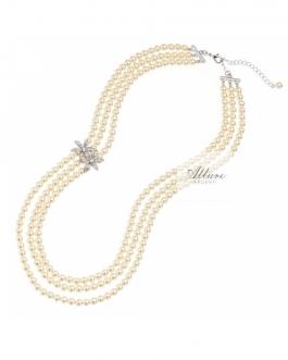collana perle 3 fili con fiori