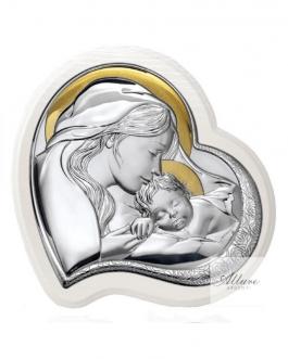 Pannello bianco Madonna con bambino a cuore -2 misure