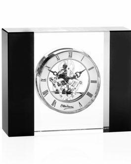Orologio in cristallo con montanti neri