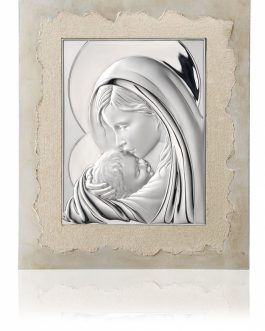 Quadro Madonna con bambino in argento bil. e cornice in foglia argento
