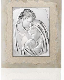 Icona Sacra Famiglia in argento bil. e cornice mis.43×50