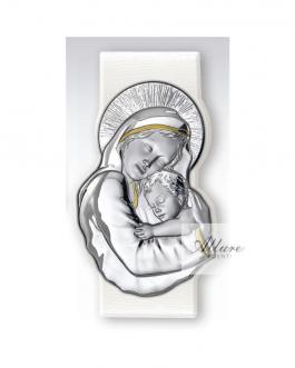 Pannello bianco Madonna con bambino in argento bil.