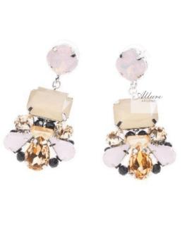 Orecchini con cristalli e strass rosa/champagne