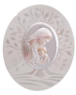 madonna con bambino ovale con albero della vita