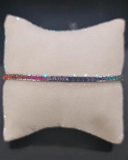 bracciale tennis griffe in argento zirconi multicolor